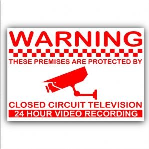 1 x 24hr Monitoring CCTV Video Recording Camera Security Warning Stickers,Home,Premises-Self Adhesive Vinyl Sign